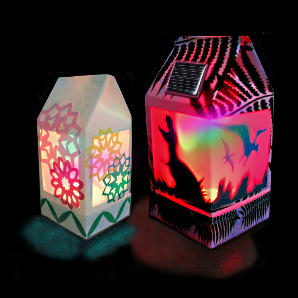 MILK CARTON SOLAR LANTERN - Full Color LED